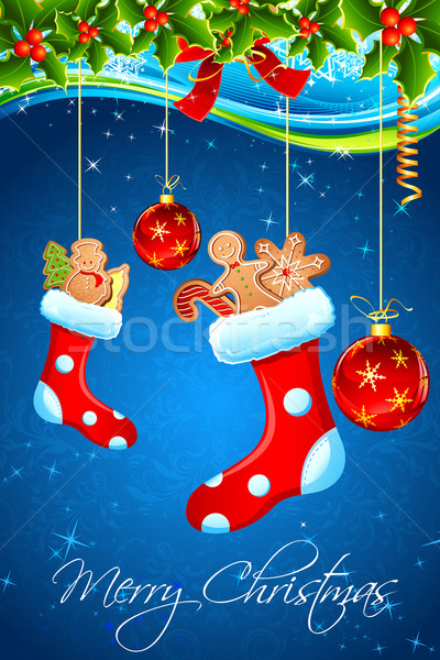 Töltött harisnya illusztráció karácsony mikulás háttér Stock fotó © vectomart