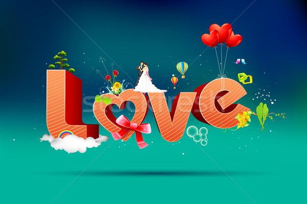 Gelukkig valentijnsdag kaart illustratie typografie Valentijn Stockfoto © vectomart