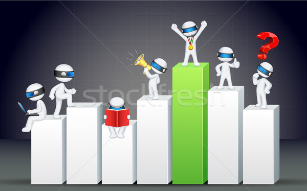 3d Business Man on Bar Graph Stock photo © vectomart