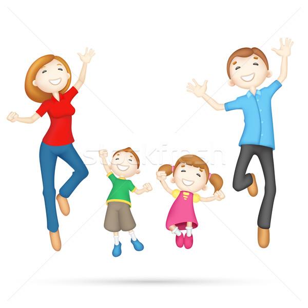 Szczęśliwy 3D rodziny ilustracja skoki Zdjęcia stock © vectomart