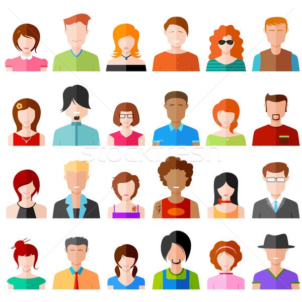 Stock fotó: Emberek · ikon · illusztráció · színes · terv · nő