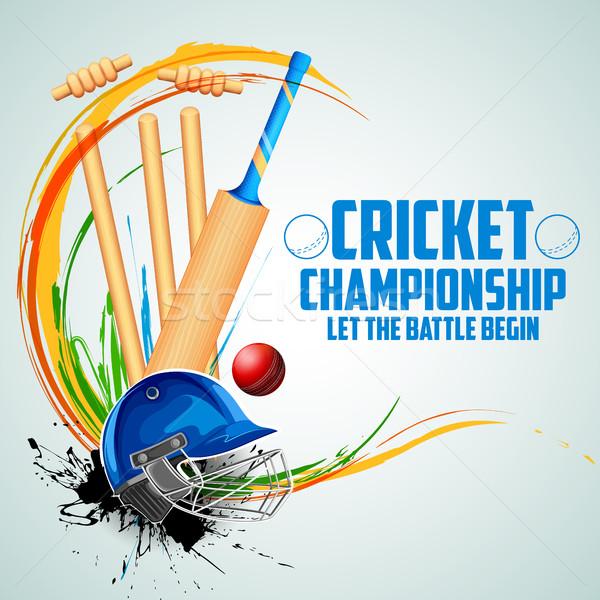игрок Bat мяча шлема крикет спортивных Сток-фото © vectomart