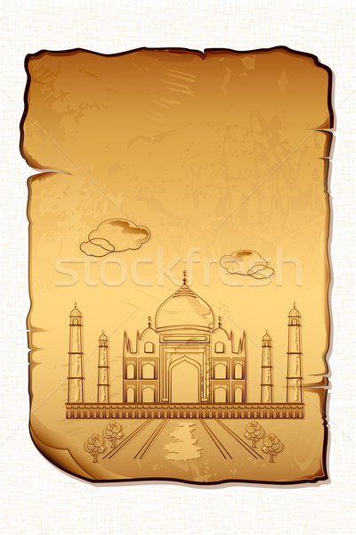 Taj Mahal illustration anciens papier amour paysage Photo stock © vectomart