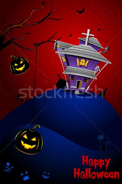 Zdjęcia stock: Halloween · noc · ilustracja · nawiedzony · domu