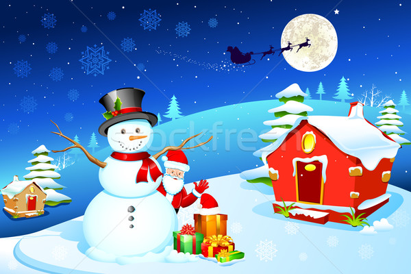 Snowman with Santa Stock photo © vectomart