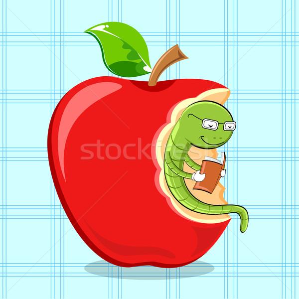 книжный червь чтение книга иллюстрация сидят яблоко Сток-фото © vectomart