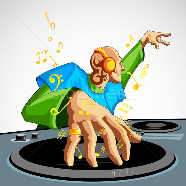 Diszkó zsoké illusztráció játszik zene diszkó Stock fotó © vectomart