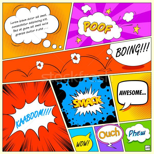 Foto stock: Cômico · balão · de · fala · ilustração · colorido · vetor · comunicação