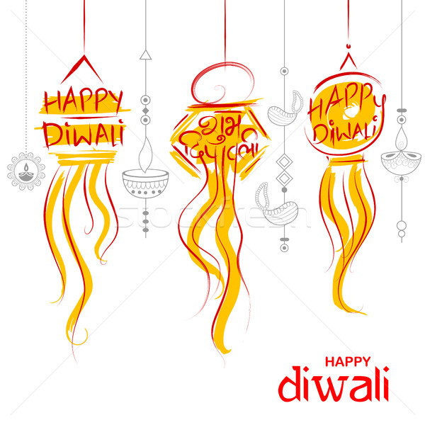 Hanging Kandil Diwali Holiday background for light festival of India with message in Hindi meaning H Stock photo © vectomart
