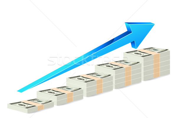 Dollar nota staafdiagram illustratie pijl witte Stockfoto © vectomart