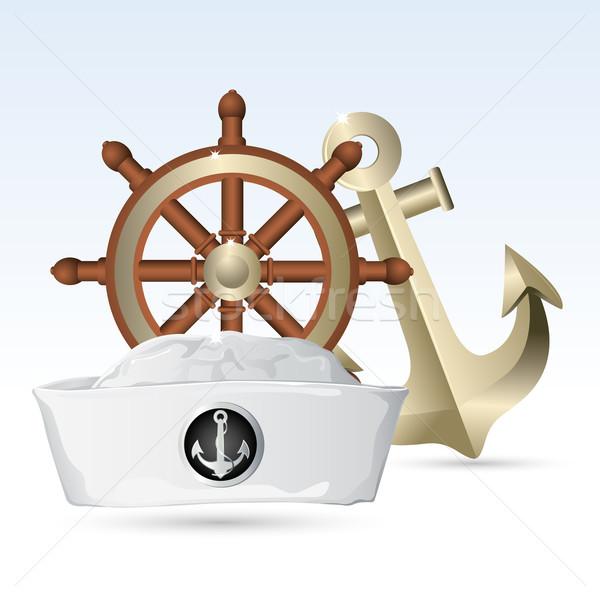 Marinheiro seis volante âncora ilustração viajar Foto stock © vectomart