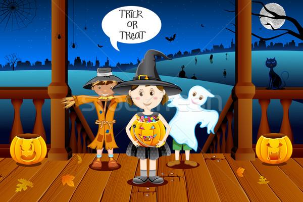Kids in Halloween Costume Stock photo © vectomart