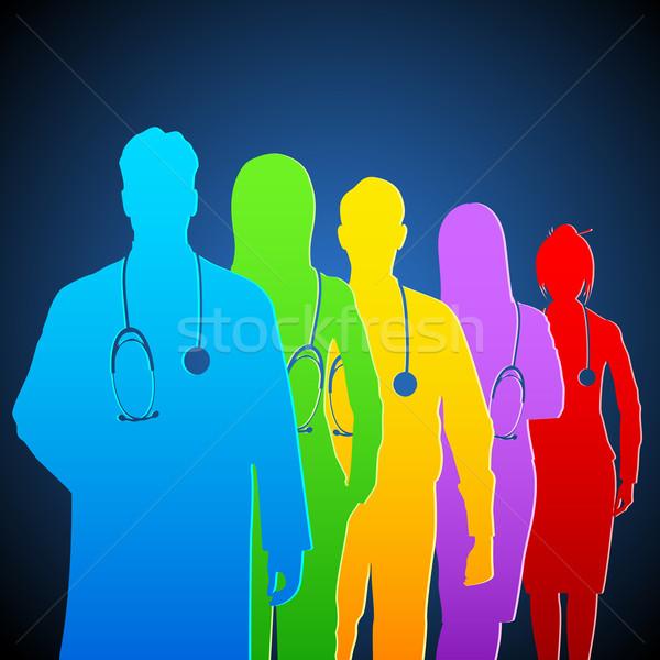 Stock fotó: Csapat · orvos · illusztráció · színes · sztetoszkóp · nő