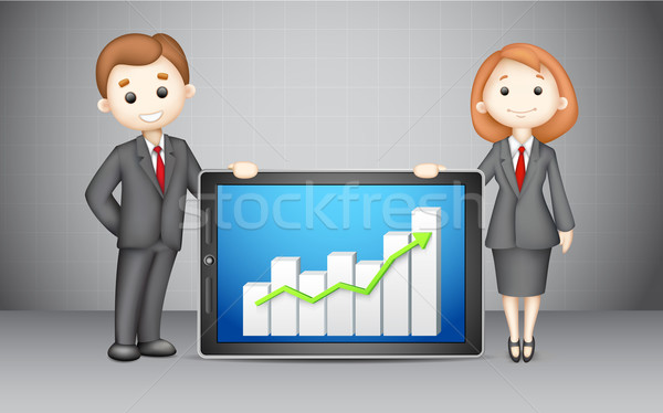 3d Business People with Company Bar Graph Stock photo © vectomart