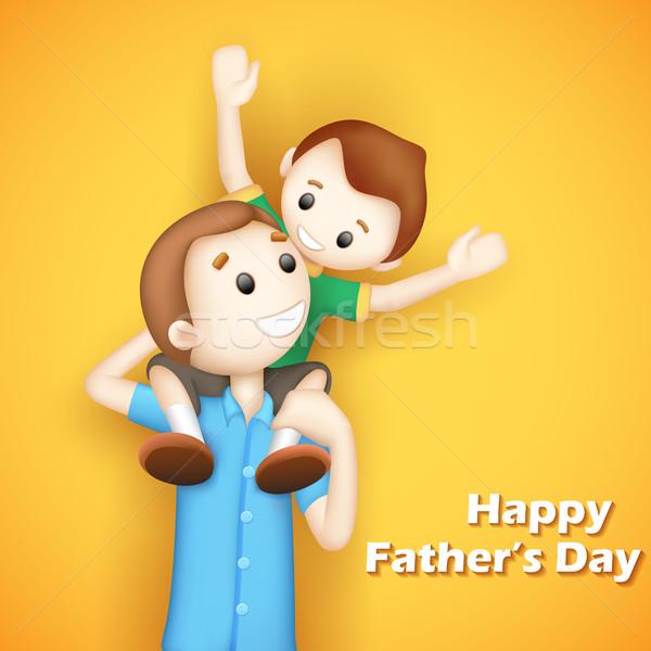 Baba oğul gün örnek baba erkek Stok fotoğraf © vectomart
