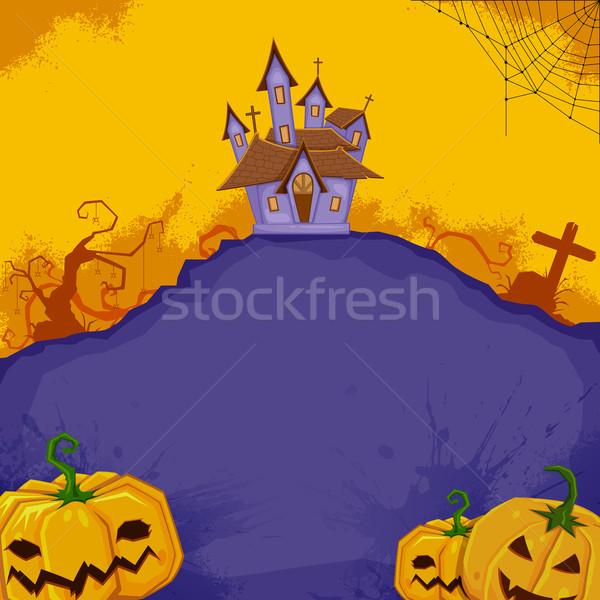 Хэллоуин иллюстрация тыква дома дерево Сток-фото © vectomart