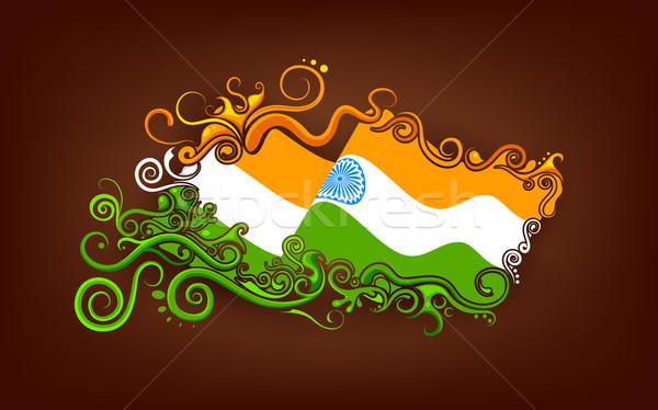 Foto stock: Floral · indiano · bandeira · ilustração · abstrato · feliz