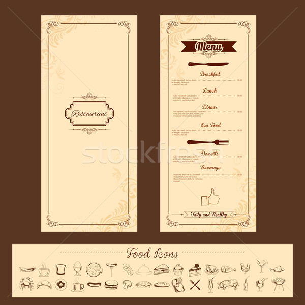 Modèle menu carte illustration coutellerie floral Photo stock © vectomart