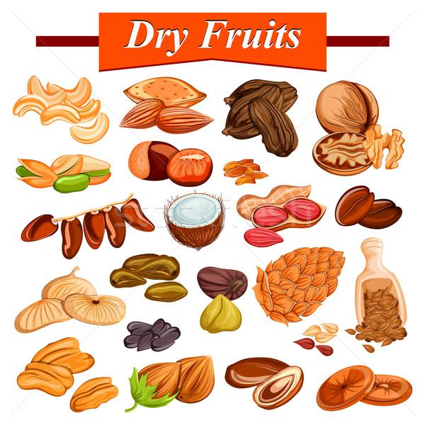Сток-фото: высушите · фрукты · набор · орехи · иллюстрация · дизайна