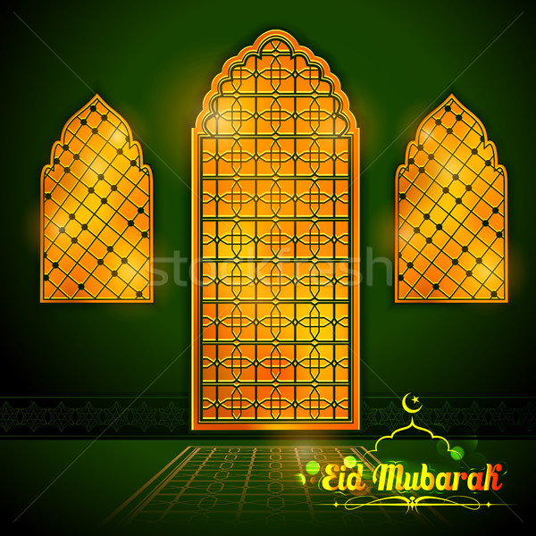 Eid Mubarak Happy Eid greetings with Arabic decorated golden gate background for Islam religious fes Stock photo © vectomart