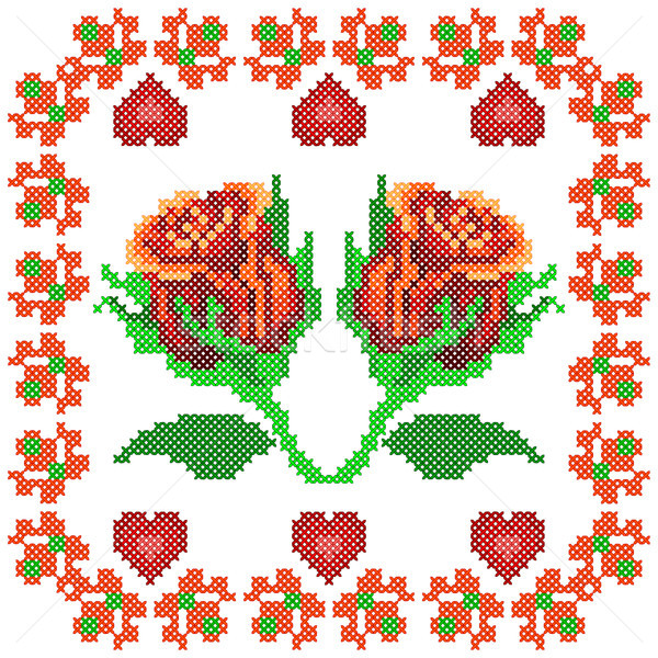 Cross Stitch Embroidery Rose Floral design for seamless pattern texture Stock photo © vectomart