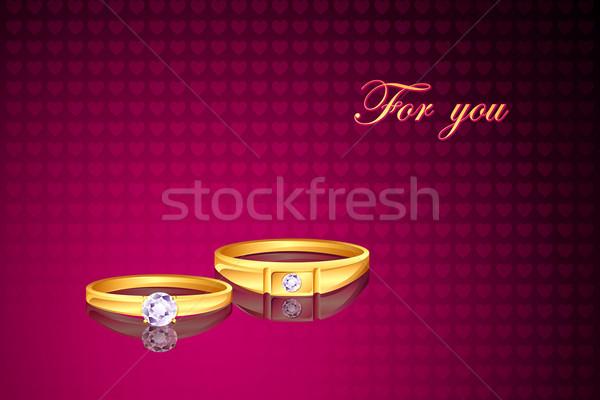 Anello di fidanzamento illustrazione coppia amore anello matrimonio Foto d'archivio © vectomart