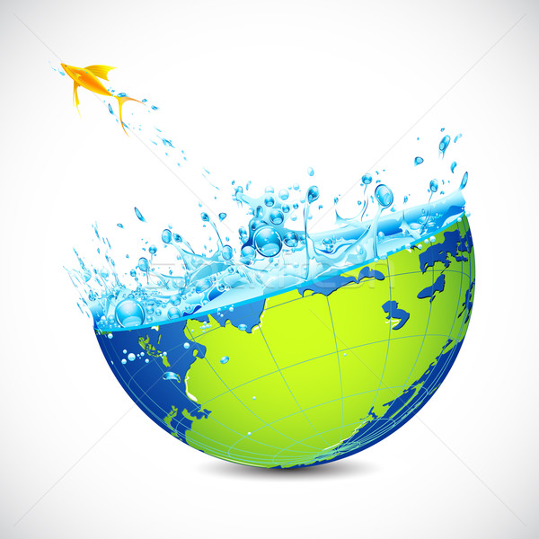 Jumping Fish from Earth Stock photo © vectomart