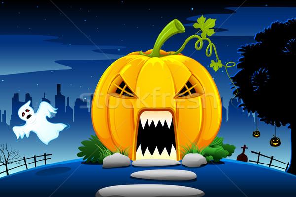 Stock fotó: Halloween · tök · ház · illusztráció · sütőtök · ijesztő · halloween