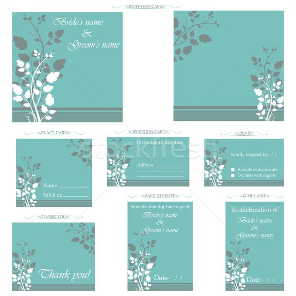 Recepção de casamento cartão ilustração conjunto flor Foto stock © vectomart