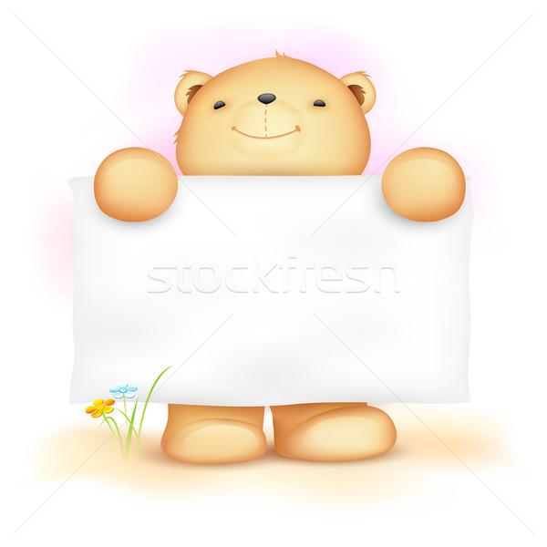 Aranyos plüssmaci tábla illusztráció tart baba Stock fotó © vectomart