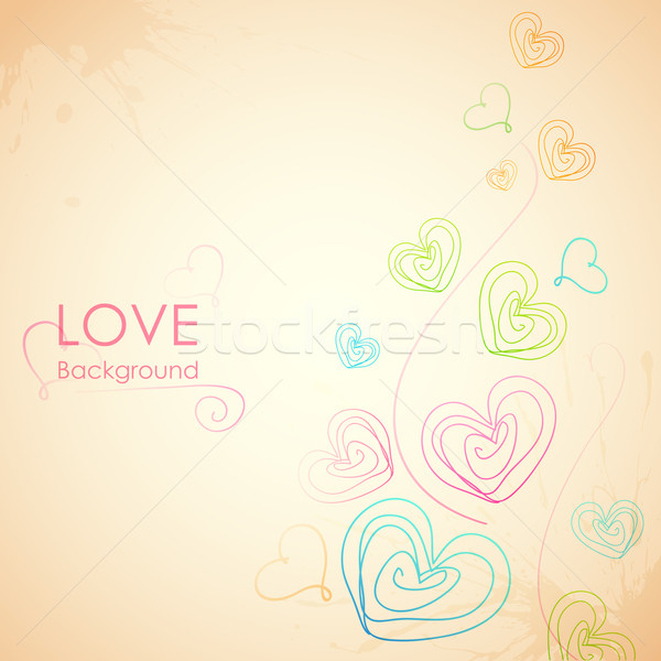 Sketchy Heart in Love Background Stock photo © vectomart