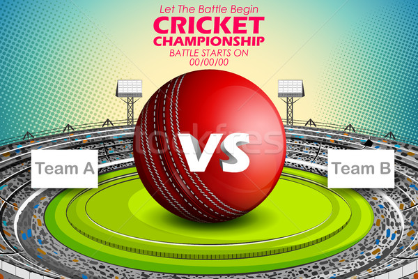 Stadium of Cricket with ball on pitch and VS versus text Stock photo © vectomart