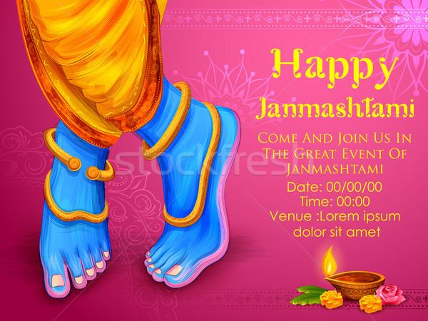 Krisna boldog fesztivál India illusztráció láb Stock fotó © vectomart