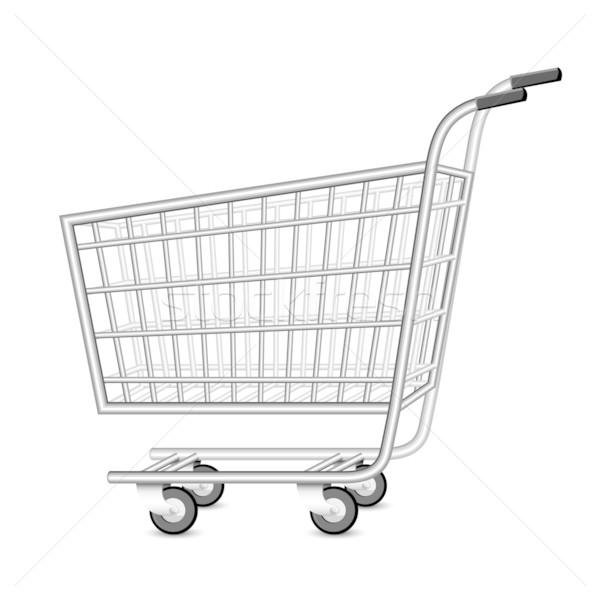 Foto stock: Vazio · carrinho · de · compras · ilustração · branco · negócio · compras