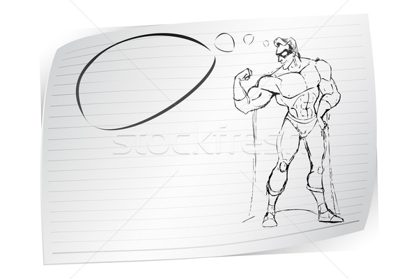 Sketch of Super Hero Stock photo © vectomart