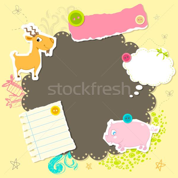Baby aankomst kaart illustratie exemplaar ruimte gelukkig Stockfoto © vectomart