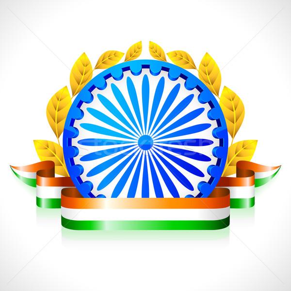 триколор лента колесо иллюстрация индийской флаг Сток-фото © vectomart