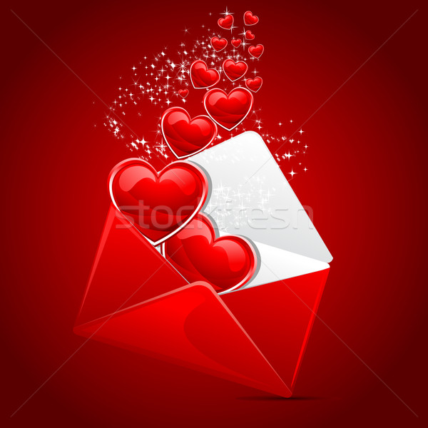 Liefde bericht illustratie hart uit envelop Stockfoto © vectomart
