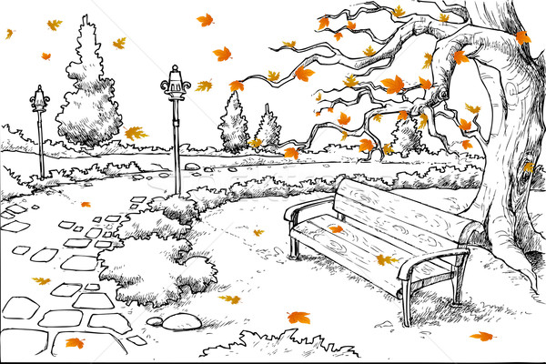 Sketch of Autumn Background Stock photo © vectomart