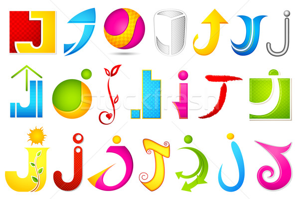 Different Icon with alphabet J Stock photo © vectomart