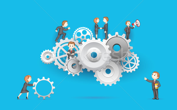 Stock photo: Business People on Cog Wheel