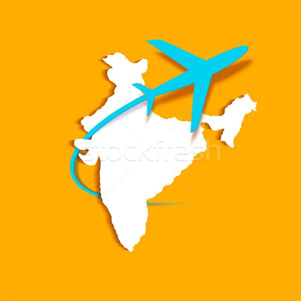 самолет вокруг индийской карта иллюстрация бизнеса Сток-фото © vectomart