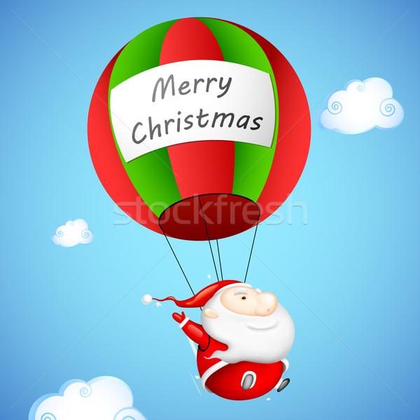 Noel baba paraşüt örnek neşeli Noel Stok fotoğraf © vectomart