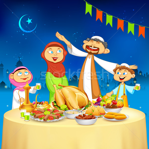 Muslim family in Iftar party Stock photo © vectomart