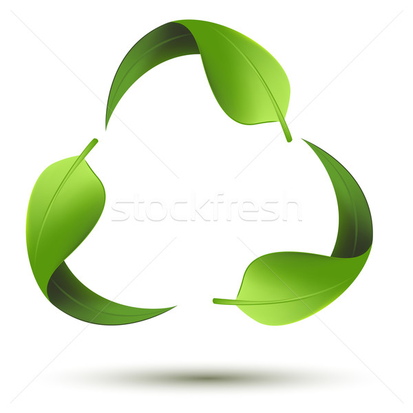Stock photo: recycle symbol with leaf