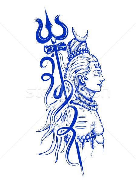 Shiva indiai Isten illusztráció imádkozik erő Stock fotó © vectomart