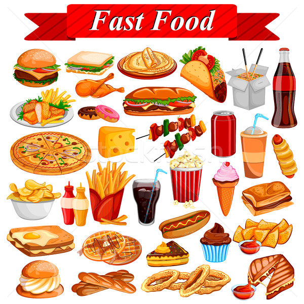 Delicious tasty Fast Food and drink item Stock photo © vectomart