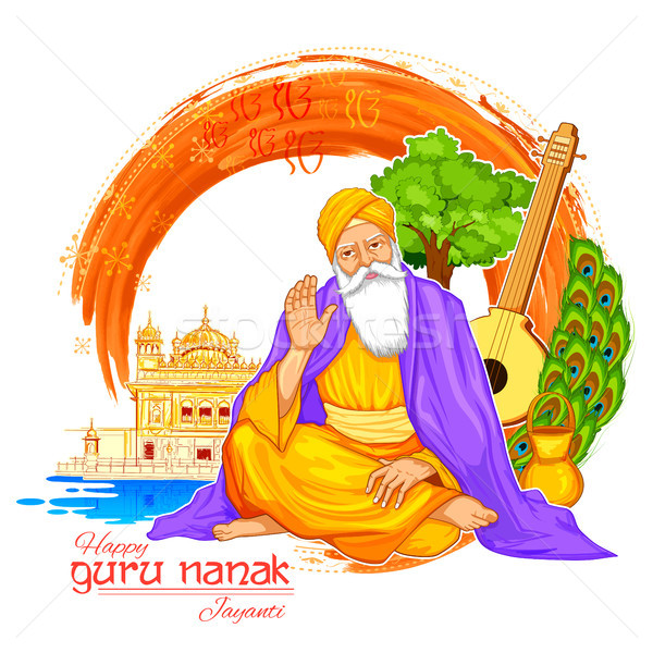 Happy Gurpurab, Guru Nanak Jayanti festival of Sikh celebration background Stock photo © vectomart
