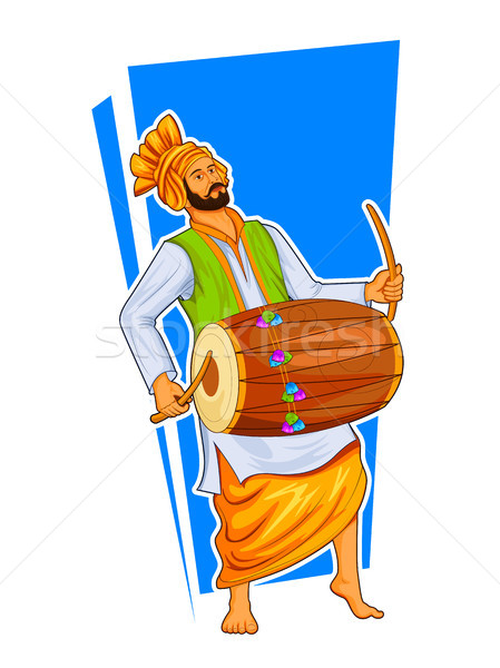 Sikh Punjabi Sardar playing dhol and dancing bhangra on holiday like Lohri or Vaisakhi Stock photo © vectomart