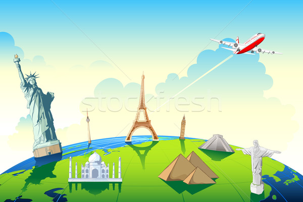 Világutazás illusztráció világ híres földgömb mutat Stock fotó © vectomart